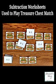 subtraction worksheets used to play treasure chest match pinterest png