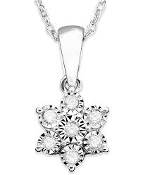 white gold flower necklace images Macy 39 s diamond flower pendant necklace in 10k white gold 1 10 ct tif