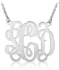 monogram necklace pendant sterling silver monogram necklace applesofgold