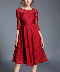 laklook red lace a line dress zulily