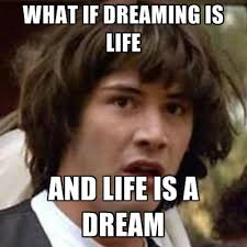 what if dreaming is life and life is a dream create meme
