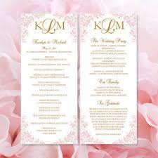 gold wedding programs printable kaitlyn wedding program template blush pink gold