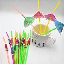 50pcs umbrella party supplies flexible plastic bendy straws