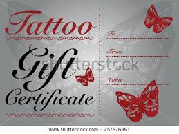 butterfly skull tattoo gift card gift stock vector 257876861