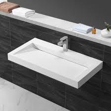 lavandino corian suspendu rectangulaire solid surface blanc mat 90x46 cm stance