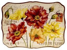 Home And Patio Decor Center Certified Intl Le Fleur Poppies Rectangular Ceramic Platter 16