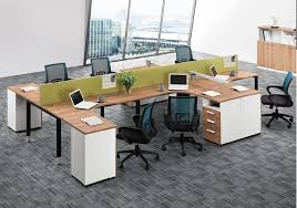 Office Workstation Desk Office Cubicle Dividers 6 Person Workstation Modern L Shape Office