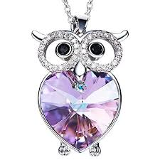 owl jewelry necklace images Purple heart cz owl necklace of ocean necklace jewelry with jpg