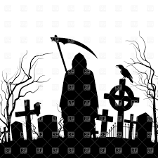 graveyard clipart silhouette of the grim reaper and cemeteries vector image 35600