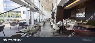 modern restaurant interior part hotel stock photo 446669167