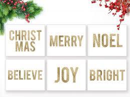 christmas gold glitter words prints set of 6 u2013 blursbyai