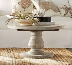 Pedestal Coffee Table Whitewash Coffee Table