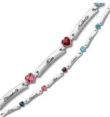 bracelets with birthstones s bracelet with children s names and heart shaped birthstones