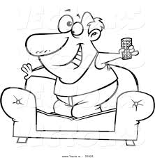 Couch Drawing Vector Of A Cartoon Couch Surfer Guy Standing On His Sofa With A