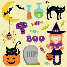 a cute halloween icons collection royalty free cliparts vectors