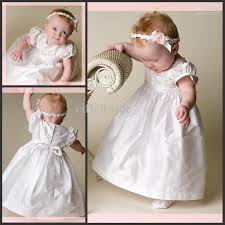 baby dress white satin short sleeve first communion dress