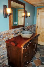 awesome rustic bathroom with wooden vanity cabinet feature stone