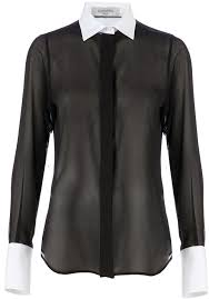black sheer blouse valentino contrast collar sheer shirt where to buy how to wear