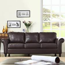 Brown Faux Leather Sofa Oxford Creek Contemporary Sofa In Brown Faux Leather Home