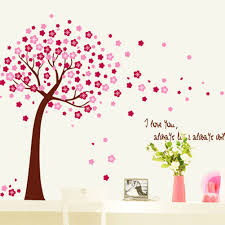 popular peach tree blossoms buy cheap peach tree blossoms lots hot sale romantic family cherry blossom peach tree wall stickers for kids room living room wall