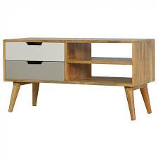 unit tv artisan nordic style media unit tv unit 2 drawers u2013 hickory