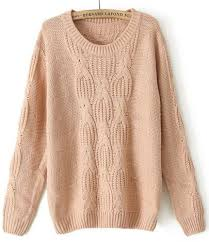 pink long sleeve chunky cable knit sweater shein sheinside