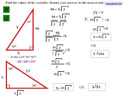 standard 20 30 60 90 triangle problem 1 problem 2 ppt video