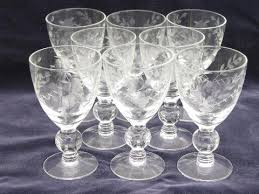 Wine Glass Flower Vase 8 Etched Glass Footed Sherry Or Cordial Glasses Individual Flower