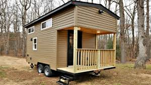 tiny house on wheels yellow pine interior cozy living space