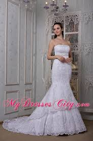 Wedding Dress On Sale Mermaid Strapless Court Train Slinky Lace Wedding Dress On Sale