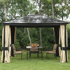 Outdoor Patio Grill Gazebo by Outdoors Black Metal Roof Gazebo With Outdoor Gardern Furniture