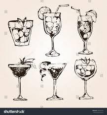 vintage cocktail set cocktail set elements graphic design menu stock vector 453241054