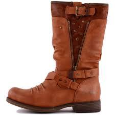 tan biker boots mustang 1139 609 300 womens synthetic biker boots in tan