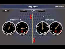 bmw vs audi race 2012 bmw m5 f10 vs 2009 audi rs6 drag race vimulator 3 5