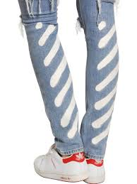 off white c o virgil abloh spray paint cotton denim jeans in blue
