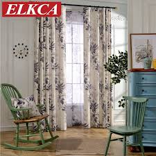 Custom Linen Curtains Modern Red Grey Leaves Printed Faux Linen Curtains For Living Room