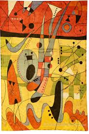 Modern Red Rug by Miro Silk Modern Rug Wall Art Red Carnival Hand Embroidered 4ft