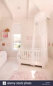 Baby S Room White Crib With Tulle Canopy In Pastel Colored Baby U0027s Room Stock