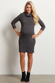 fitted sweater charcoal turtle neck fitted maternity sweater dress
