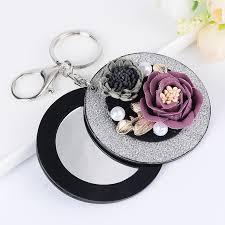 new fashion make up mirror flowers keychain bag pendant car