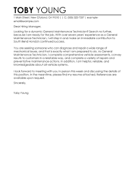 cover letter for maintenance mechanic position 28 images