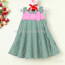 2018 2013 baby dresses green polka dots summer dress with bow