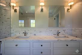 gray bathroom vanity with marble backsplash shelf marble