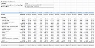 Landlord Spreadsheet Rental Income Expenses Spreadsheet