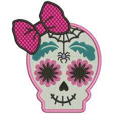 sugar skull with a spider day of the dead dia de los muertos filled machine embroidery design digitized pattern 700x700 jpg