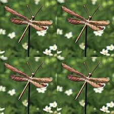 flamed copper dragonfly garden ornaments set of 4 dragonfly