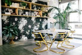 Oval Office Wallpaper by Office Dark Floral Wallpaper Brass Cantilever Dwellstudio Farrah