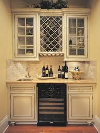 entranching kitchen built in china cabinet with wine rack design