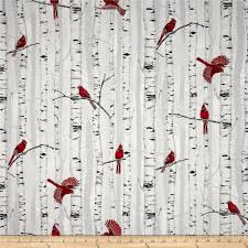 Home Decor Print Fabric Curtains Or Pillows Woodsy Winter Metallic Cardinals In Trees