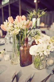 Mismatched Vases Wedding Apothecary Jar And Mason Jar Centerpiece Rustic Centerpieces